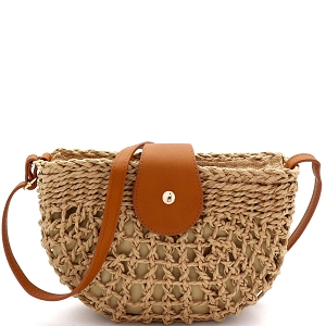 DX5871 Knitted Straw Bohemian Half-Moon Cross Body Shoulder Neutral/Tan