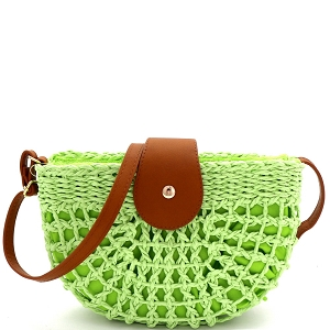 DX5871 Knitted Straw Bohemian Half-Moon Cross Body Shoulder Bag Lime/Tan