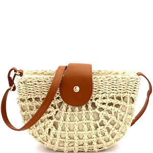 DX5871 Knitted Straw Bohemian Half-Moon Cross Body Shoulder Bag Ivory/Tan