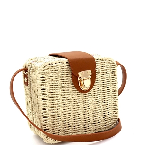 DX5875 Woven Bamboo Rattan Push-Lock Boxy Crossbody Shoulder Bag Neutral