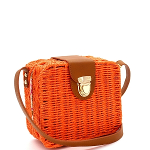 DX5875 Woven Bamboo Rattan Push-Lock Boxy Crossbody Shoulder Bag Orange