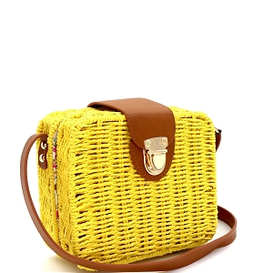 DX5875 Woven Bamboo Rattan Push-Lock Boxy Crossbody Shoulder Bag Yellow