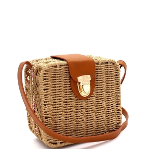 DX5875 Woven Bamboo Rattan Push-Lock Boxy Crossbody Shoulder Bag Beige