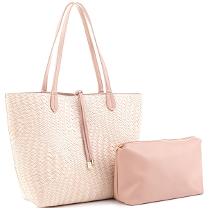EM1227 Woven Pattern Classy 2 in 1 Large Shopper Tote Blush