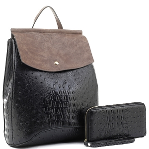 EM1363AS Ostrich Print Convertible Flap Backpack Wallet SET Black/Dark-Taupe