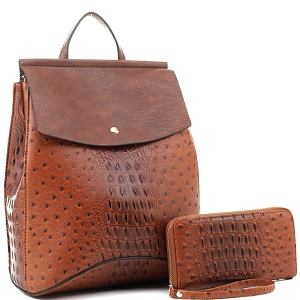 EM1363AS Ostrich Print Convertible Flap Backpack Wallet SET Brown/Dark-Brown