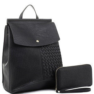 EM1363S Woven Detail Convertible Flap Backpack Wallet SET Black