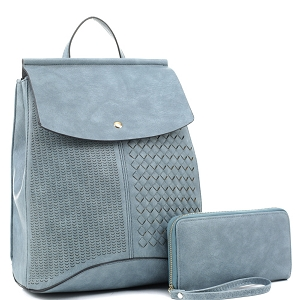 EM1363S Woven Detail Convertible Flap Backpack Wallet SET Dusty-Blue