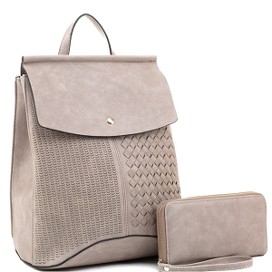 EM1363S Woven Detail Convertible Flap Backpack Wallet SET Light-Gray
