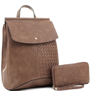 EM1363S Woven Detail Convertible Flap Backpack Wallet SET Mocha
