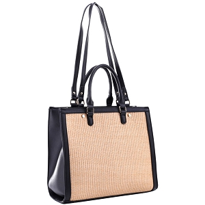 EM5329 Straw Accent 2 Way Rectagular Square Satchel Black