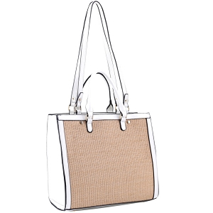 EM5329 Straw Accent 2 Way Rectagular Square Satchel White