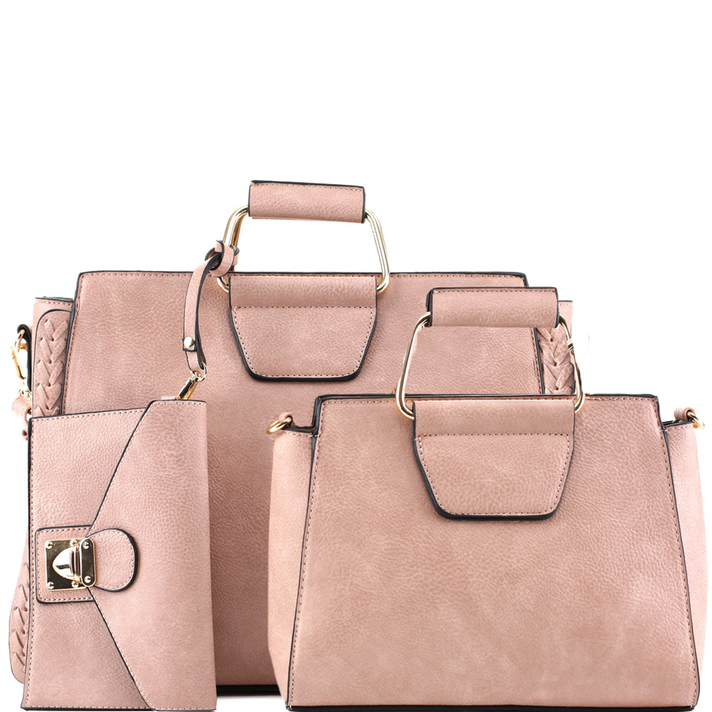 EM5333T Metal Handle Accent 3 in 1 Braided Twin Satchel Value SET Blush