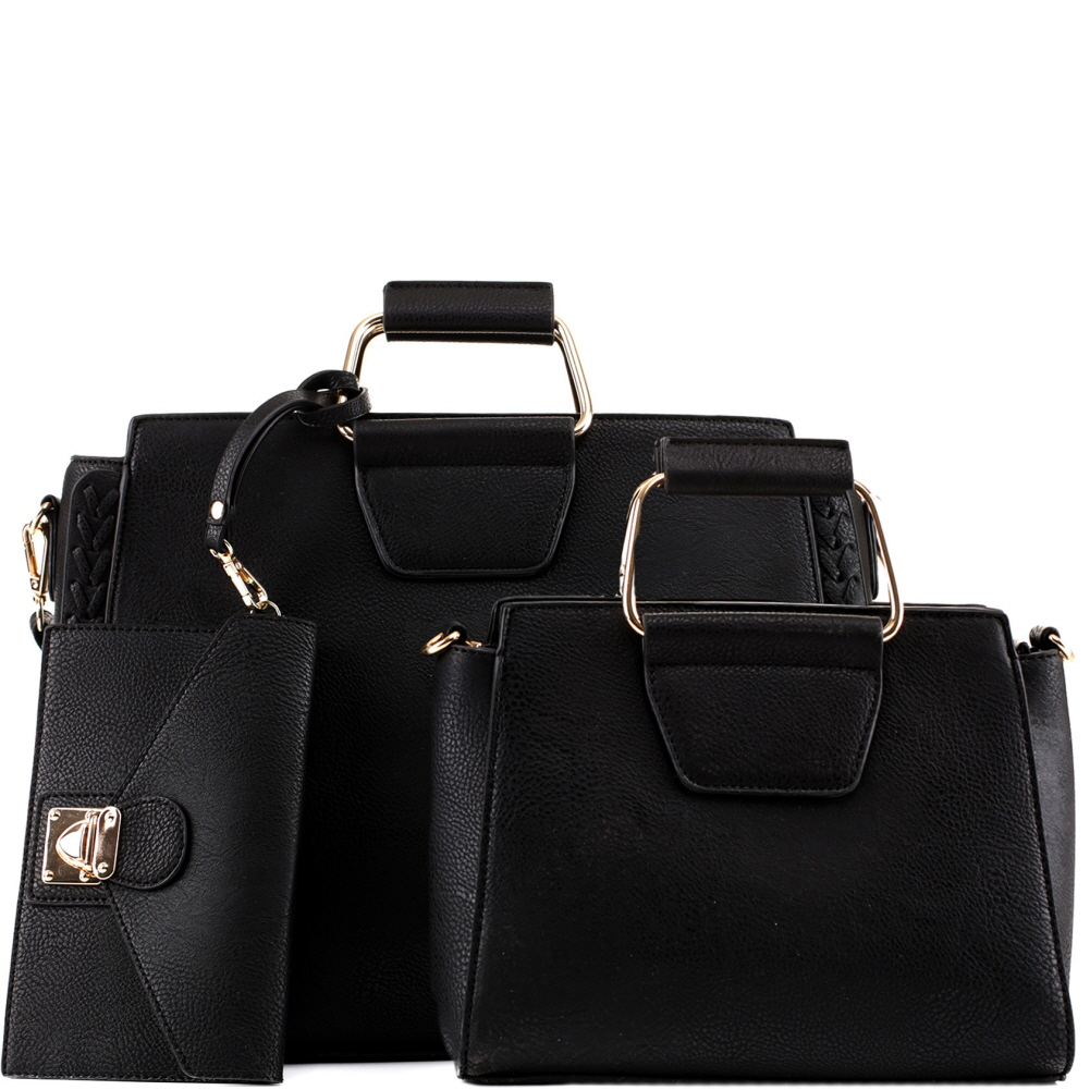 EM5333T Metal Handle Accent 3 in 1 Braided Twin Satchel Value SET Black