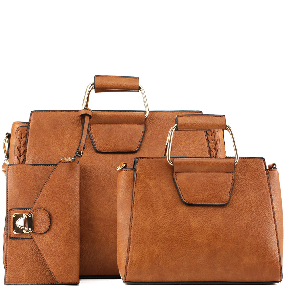 EM5333T Metal Handle Accent 3 in 1 Braided Twin Satchel Value SET Cognac