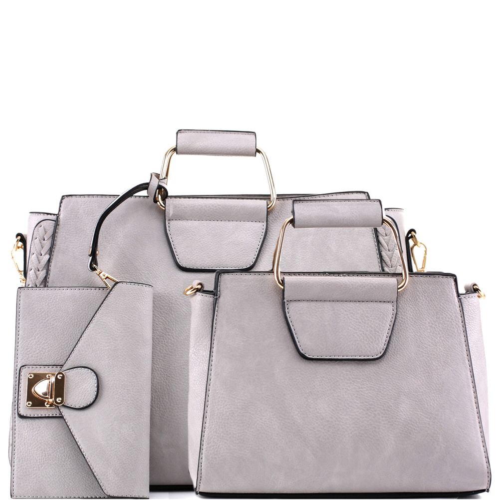 EM5333T Metal Handle Accent 3 in 1 Braided Twin Satchel Value SET Gray