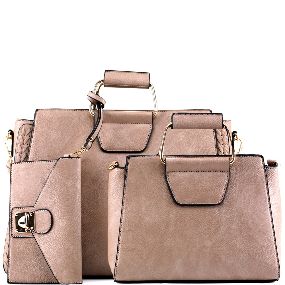 EM5333T Metal Handle Accent 3 in 1 Braided Twin Satchel Value SET Taupe