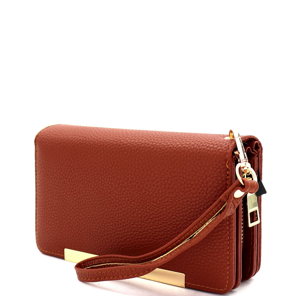 FTW4197 Multi-Compartment Smartphone-Friendly Bi-fold Wristlet Wallet Brown