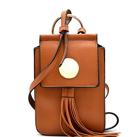 HY2043 Hardware and Tassel Accent Cellphone Holder Cross Body Tan