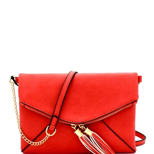 HY3107 Tassel Accent Envelope Cross Body Red