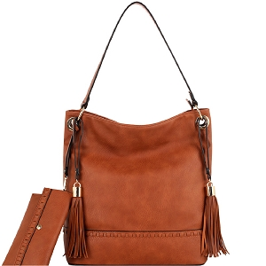 HY4027S Double Tassel Whipstitched 2 in 1 Bohemian Hobo SET Cognac