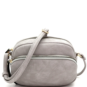 HY5316 Front Pocket Accent Organizer Cross Body Shoulder Bag Gray