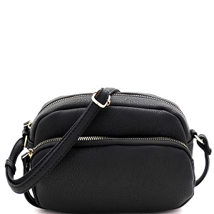 HY5316 Front Pocket Accent Organizer Cross Body Shoulder Bag Black