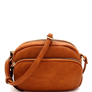 HY5316 Front Pocket Accent Organizer Cross Body Shoulder Bag Tan