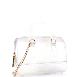 JB5878 Translucent Jelly 2-Way Small Boston Satchel Shoulder Bag Clear