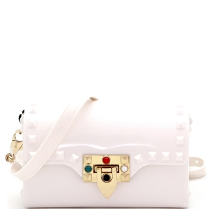 JB5879 Flip-Lock Accent Studded Jelly 2-Way Small Shoulder Bag White