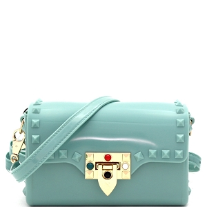 JB5879 Flip-Lock Accent Studded Jelly 2-Way Small Shoulder Bag Mint