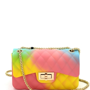 JB6134 Quilted Matte Jelly Small 2 Way Shoulder Bag Rainbow-C
