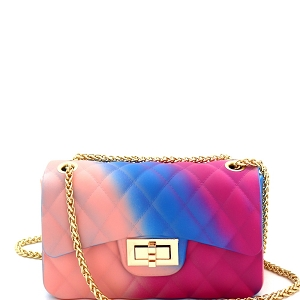 JB6134 Quilted Matte Jelly Small 2 Way Shoulder Bag Rainbow-E