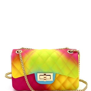 JB6134 Quilted Matte Jelly Small 2 Way Shoulder Bag Rainbow-A