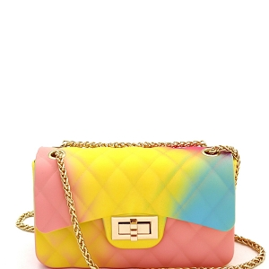JB6134 Quilted Matte Jelly Small 2 Way Shoulder Bag Rainbow-D