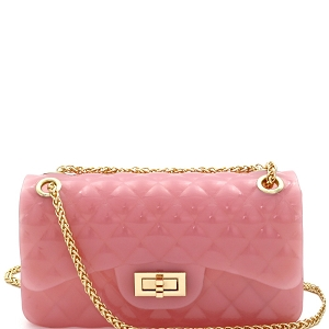 LAYS-SH4 Quilted Glossy Jelly Medium 2-Way Shoulder Bag Pink