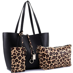 LF5031LT Leopard Print 3 in 1 Shopper Tote Value SET Black/Tan/Brown