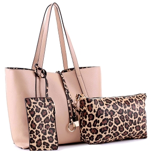 LF5031LT Leopard Print 3 in 1 Shopper Tote Value SET Sand/Tan/Brown