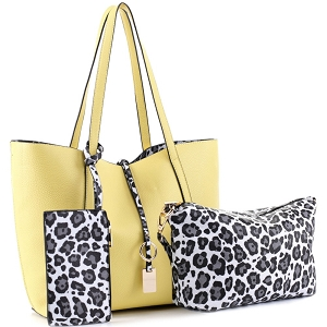 LF5031LT Leopard Print 3 in 1 Shopper Tote Value SET Yellow/White/Black