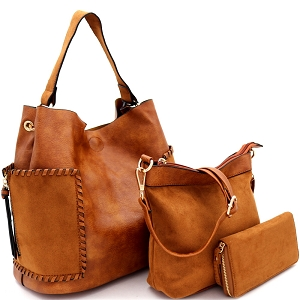 LF5037UT Suede Trim Whipstitched Side Pocket 3 in 1 Hobo Wallet SET Tan/Tan