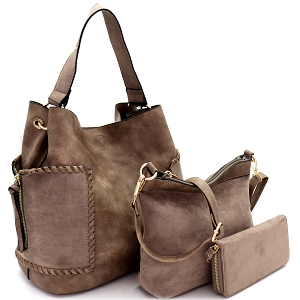 LF5037UT Suede Trim Whipstitched Side Pocket 3 in 1 Hobo Wallet SET Dark-Taupe