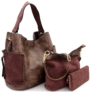 LF5037UT Suede Trim Whipstitched Side Pocket 3 in 1 Hobo Wallet SET Coffee/Coffee