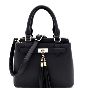 LF5053 Tassel Accent 3-Compartment Medium 2-Way Satchel Black
