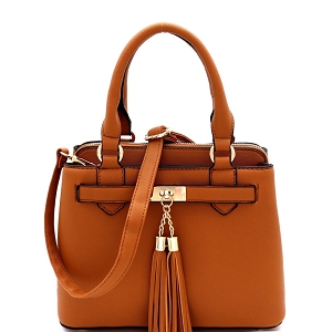 LF5053 Tassel Accent 3-Compartment Medium 2-Way Satchel Tan