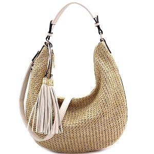 LY5858 Woven Straw Expandable 2-Way Hobo Neutral/Off-White/Off-White