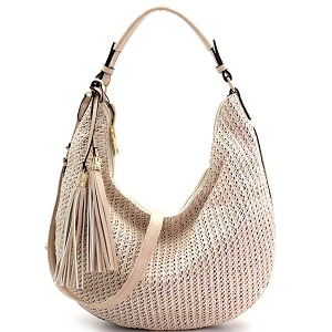 LY5858 Woven Straw Expandable 2-Way Hobo Off-White/Neutral/Beige