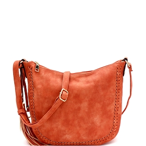 LY5866 Tassel Accent Braid Detail Hobo Messenger Coral