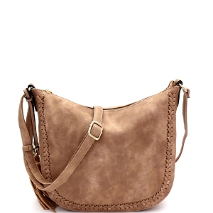 LY5866 Tassel Accent Braid Detail Hobo Messenger Taupe