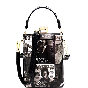 MB5012P Magazine Print Jewel-Top Frame 2-Way Medium Satchel Black