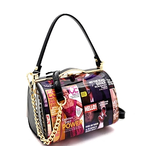 MB5265 Magazine Print Patent Frame 2-Way Medium Satchel Black